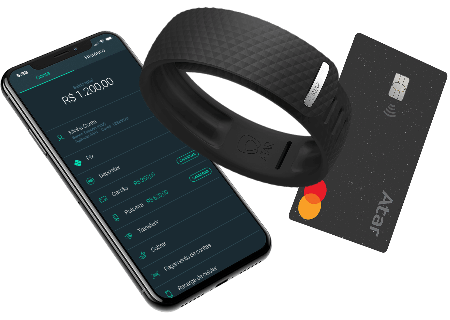 Conta digital, cartão e pulseira Atar Pay