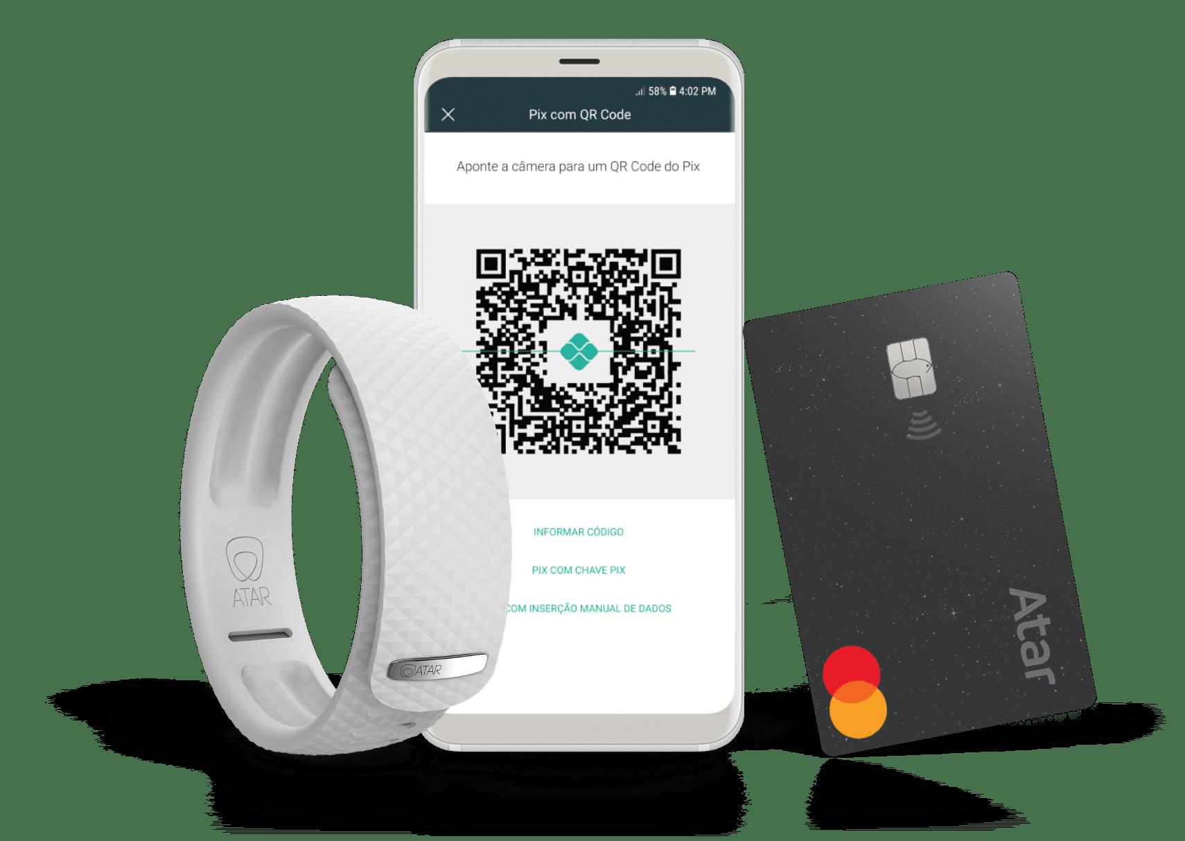 Pague com a conta digital, cartão ou pulseira