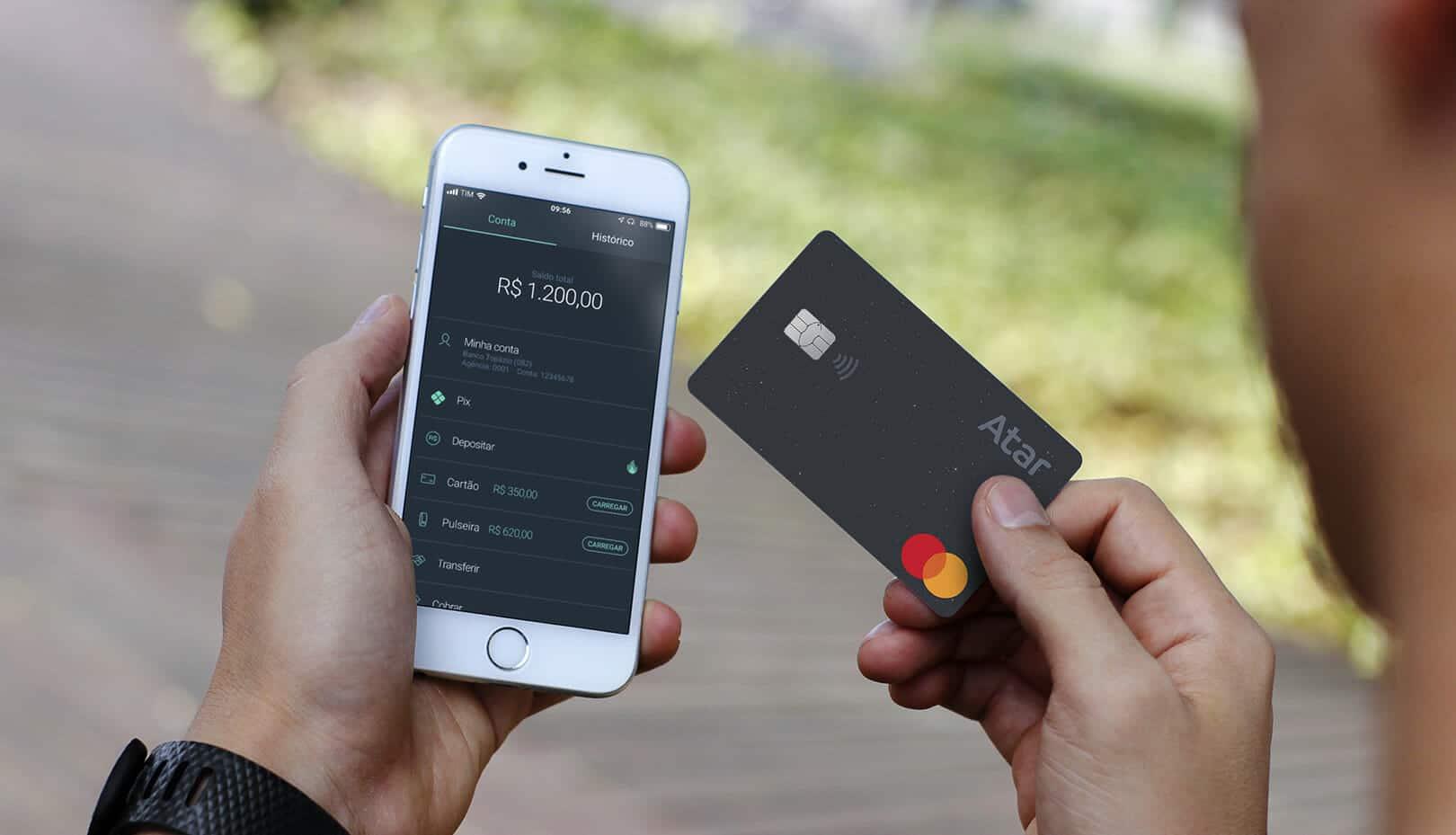 Cartão, pulseira (band) e conta digital Atar Pay